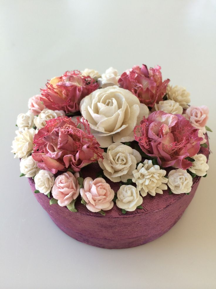 Box with paper flowers