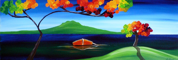 Title: A view to rangitoto: Title: Original landscape painting by artist Megan Morris, painted in acrylics onto framed canvas.