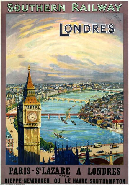 Southern Railway poster promoting rail services between Paris St Lazare to London via Dieppe-Newhaven or Le Havre-Southampton. View of the River Thames with Big Ben in the foreground. 1923-1947.