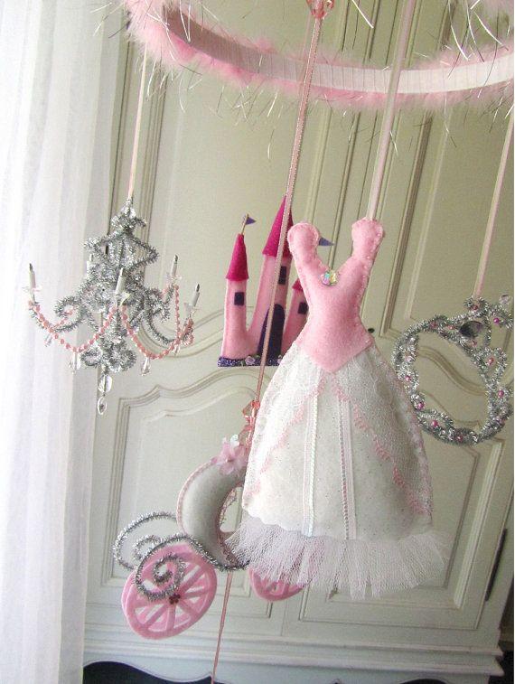 Coupon sale 40 off nursery mobile princess white with for Princess crib mobile