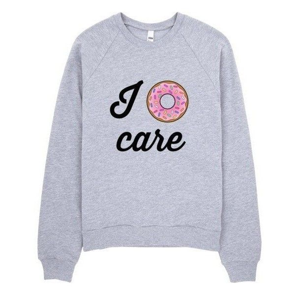 I Donut Care Sweater ($42) ❤ liked on Polyvore featuring tops, sweaters, crew sweater, crew neck sweaters, crew fleece sweaters, crewneck sweater and fleece tops