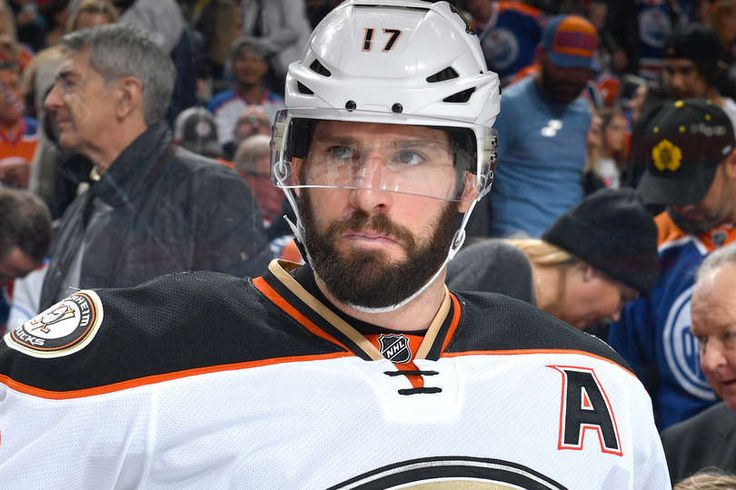 Ryan Kesler 17 of the Anaheim Ducks watches from the bench prior to the game against the Edmonton Oilers on April 1, 2017 at Rogers Place in Edmonton