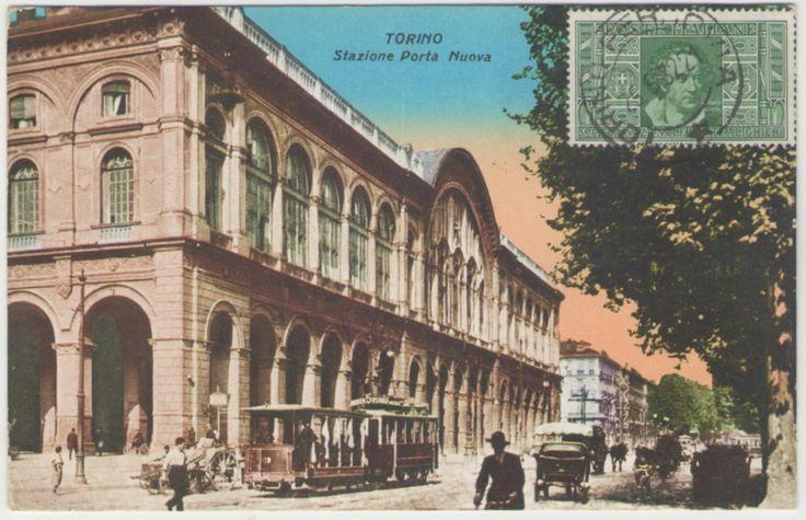 #Cartolina #Paesaggistica di Torino Stazione Porta Nuova Viaggiata Con Francobollo anteriore e Animata Mis. Piccola