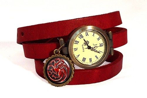 Red Dragon Ladies Watch, Game of Thrones Leather Watch Bracelet
