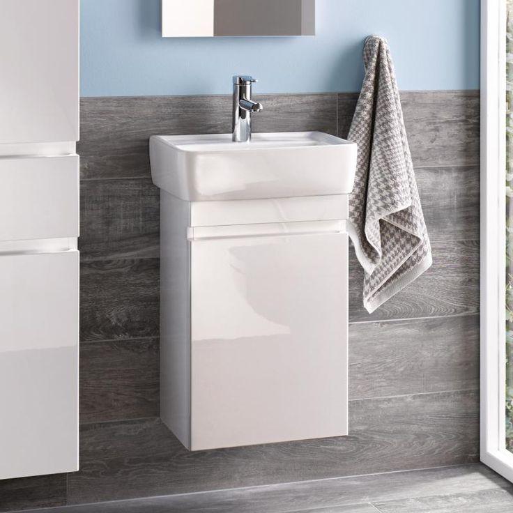 Keramag Renova Nr. 1 Plan Handwaschbecken-Unterschrank B: 41,4 H: 58,6 T: 34,5 cm Front und Korpus weiß hochglanz