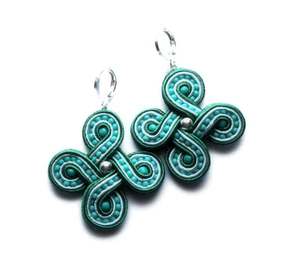celtica soutache earrings green white and turquoise and by KimimilaArt on Etsy