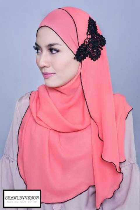 Pink hijab- my daughter would love this lace butterfly