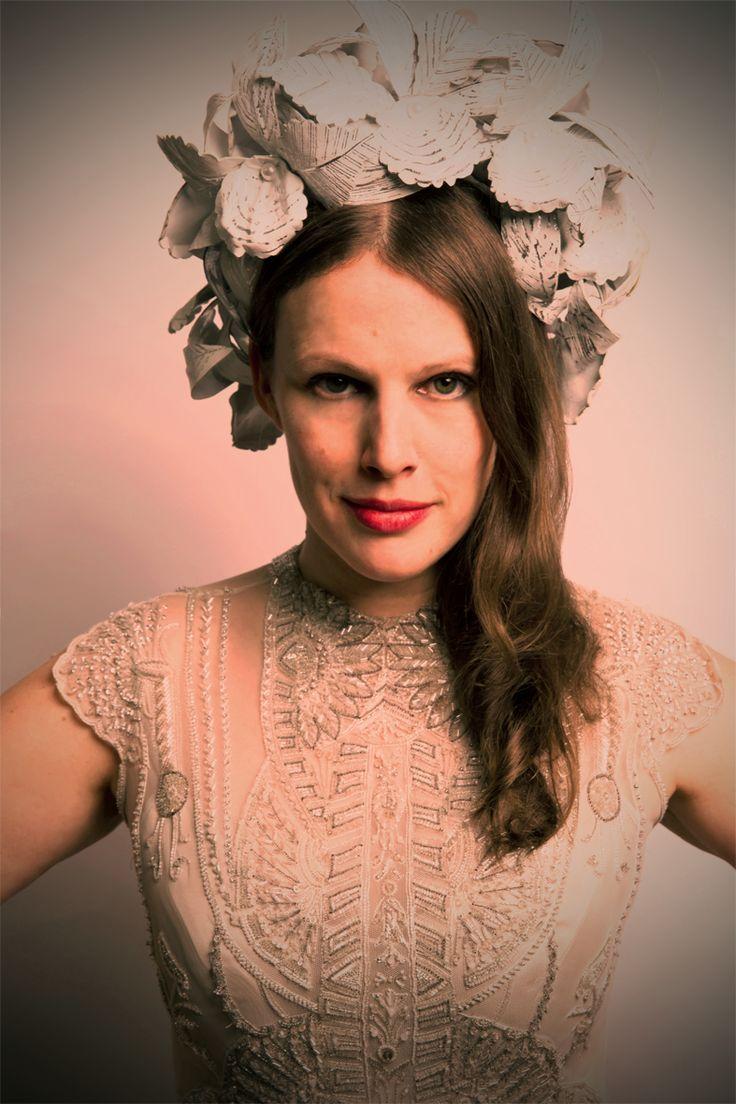 Gwendolynne wearing Art Deco Vintage inspired Polly Wedding Dress - Richard Nylon Flower wreath. Image by Brett Goldsmith.