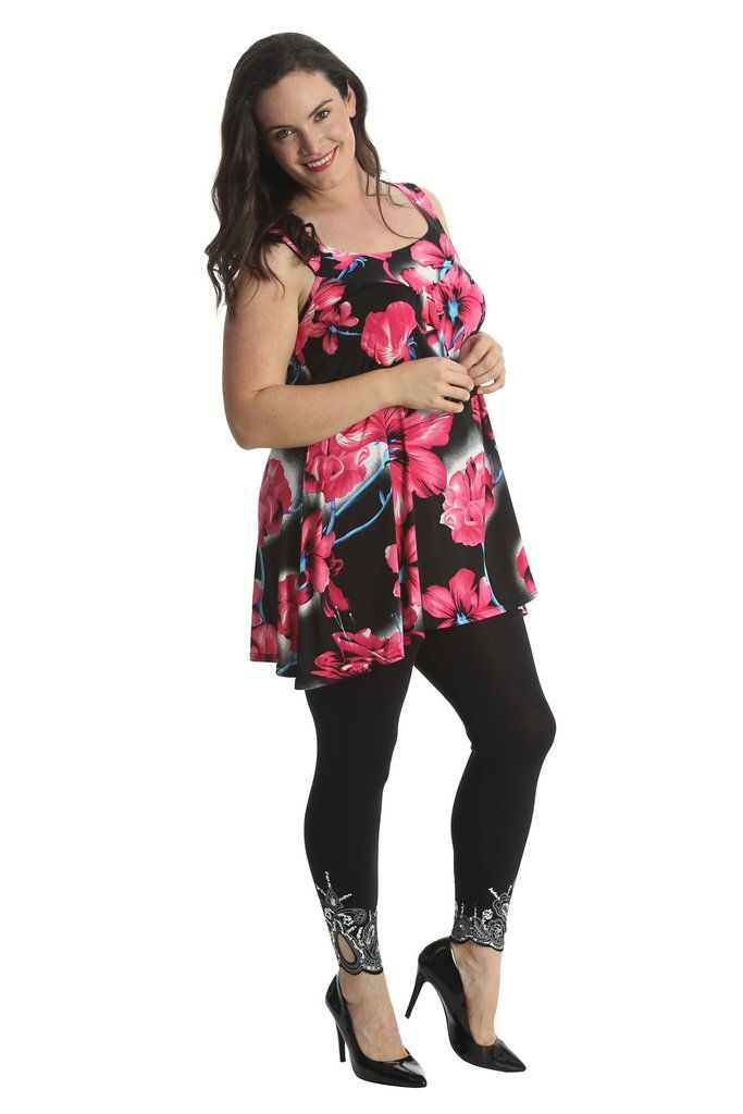 Lovely Loose Floral Print Plus Size Tunic Top - Cerise