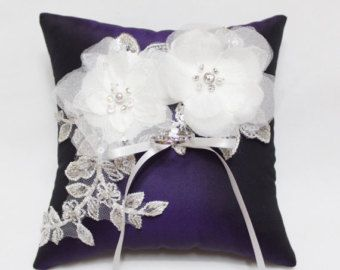 Wedding ring pillow white bloom and silver lace on by MirinoBridal