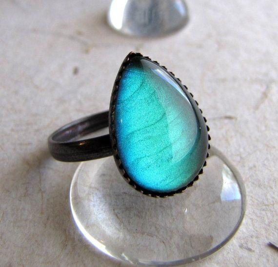 Absinthe Petite Tear Drop Ring by AshleySpatula on Etsy $12.50 - more → http://sherryfashiondesignblog.blogspot.com/2012/08/absinthe-petite-tear-drop-ring-by.html