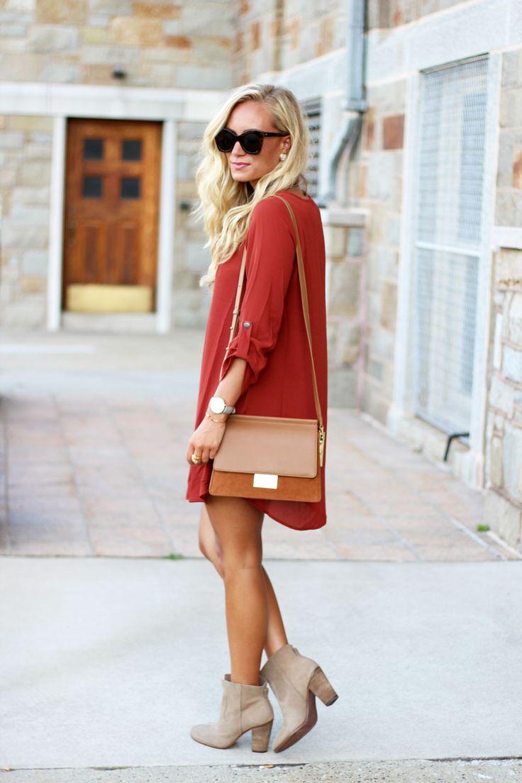 Fall Shift Dress, Tan Booties, Street Style, Comfy