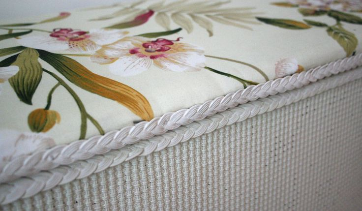 Floral Ottoman. I bought this from a second hand furniture shop for £20 and decided to spruce it up! It was very matted and worn so I have given it a good paint and re-upholstered it in a floral Sanderson fabric. #sandersonfabric #johnlewis #fabric #floral #flowers #ottoman #storage #white #bedroom #business #handmade #bristol #england