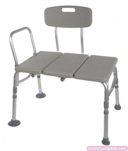 Drive Medical - 12011kd-1 - Plastic Tub Transfer Bench with Adjustable Backrest