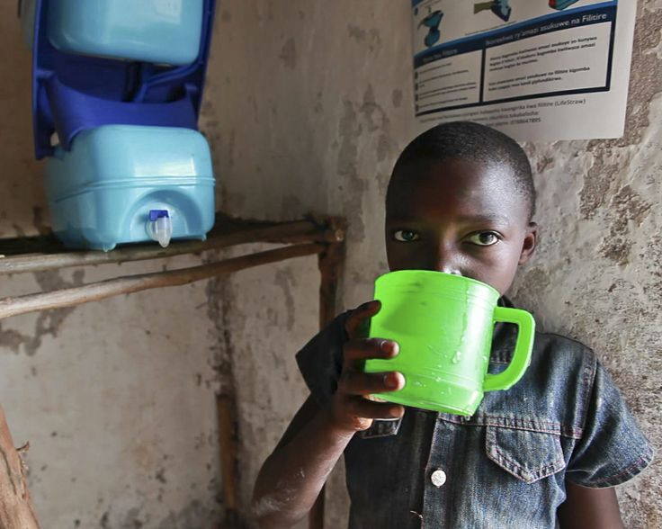 Safe drinking water keeps children in Rwanda healthy and happy. LifeStraw Family 2.0