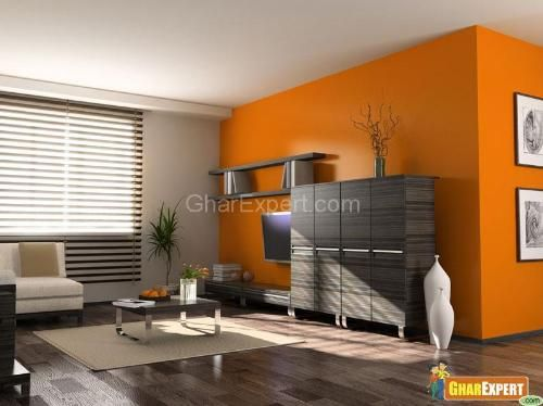 Orange And Gray/brown Wall Painted Living Room Wall Decoration Ideas