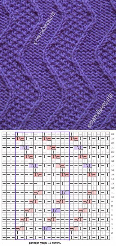узор 348 волны с жемчужным узором | каталог вязаных спицами узоров