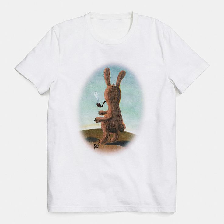 """Part of an exclusive limited edition collaboration featuring Los Angeles artist and animator Gary Baseman's original drawings of darkly playful """"creatures,"""" this easy tee depicts a nameless bunny wistfully smoking a pipe. He appears here on extremely soft, exceptionally strong combed cotton with a remarkably smooth hand."""