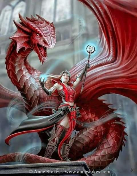 Dragon Art by Anne Stokes  Dragons and witches just kinda go together