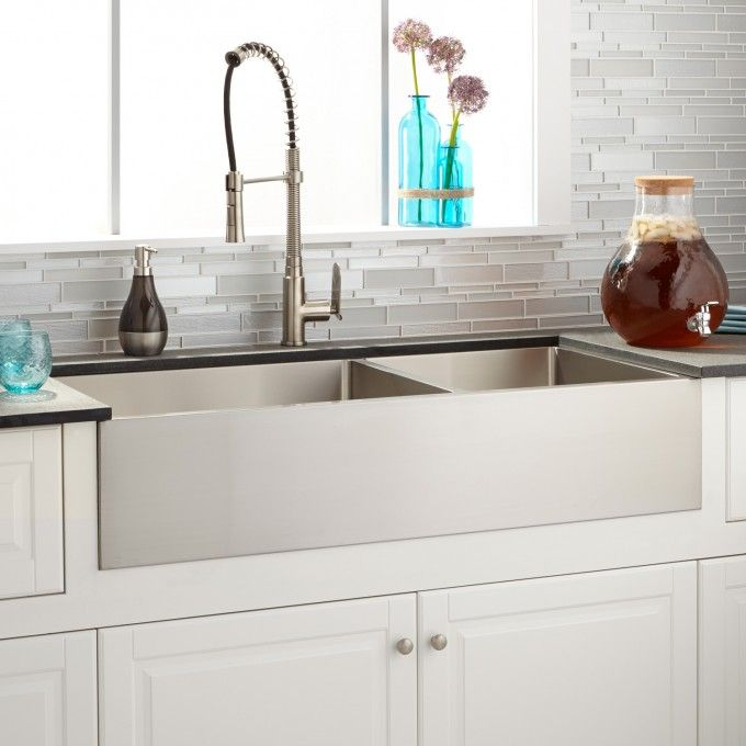 "42"" Optimum 60/40 Offset Double-Bowl Stainless Steel Farmhouse Sink"