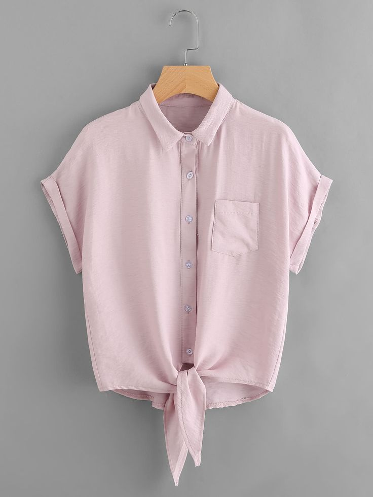 Knot Front Cuffed Shirt With Chest Pocket