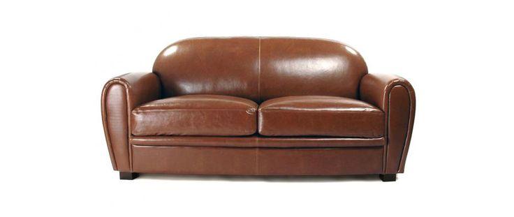 Canapé Club convertible cuir marron clair 3 places - cuir de vachette - Miliboo