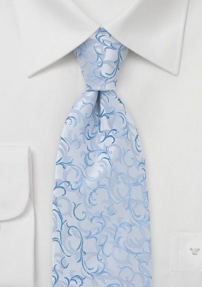 Ice Blue Tie with Scrolls Patterns