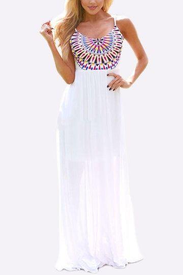White Bohemian Backless Maxi Dress