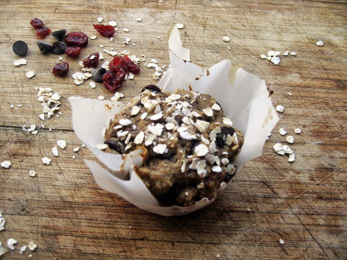 Vegan chocolate chip muffins with flax, oats, and dried cherries ...
