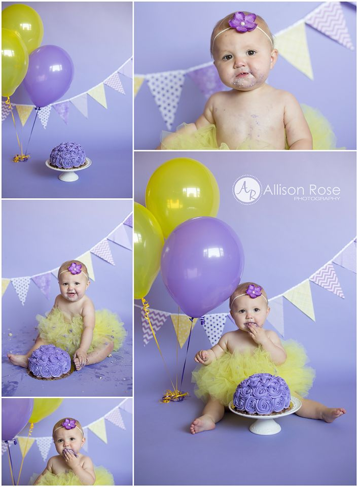 1st Birthday Cake Smash  Purple and Yellow  Allison Rose Photography  #allisonrosephoto