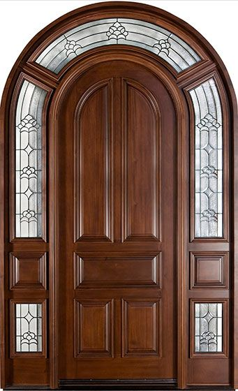 Mahogany Solid Wood Custom Door Single With 2 Sidelites
