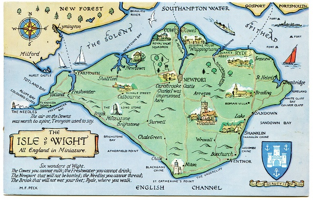 M.F. Peck maps - Isle of Wight.  They were part of being on holiday! Wonderful illustrations...