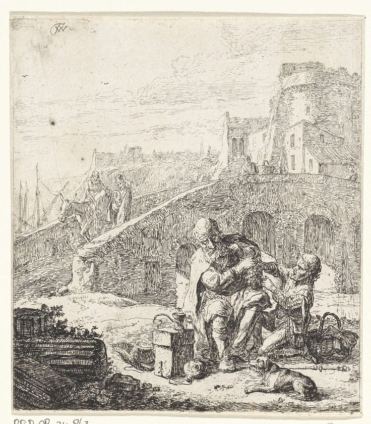 Thomas Wijck | Bedelaar die druiven eet, Thomas Wijck, 1626 - 1677 | Scène uit de anonieme Spaanse schelmenroman Lazarillo van Tormes. De jonge Lázaro steelt druiven van een arme blinde bedelaar. Op de achtergrond een brug.