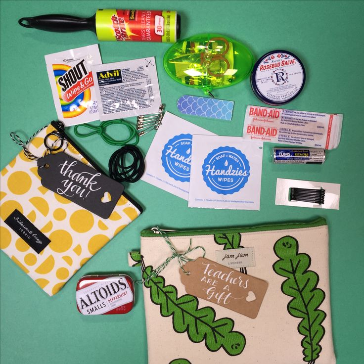 "Cute teacher gift idea!  What teacher wouldn't appreciate a cute ""save the day"" bag?  Filled with thoughtful items that come in handy in a pinch. And they'll think of you every time you save the day. Cute and useful!"