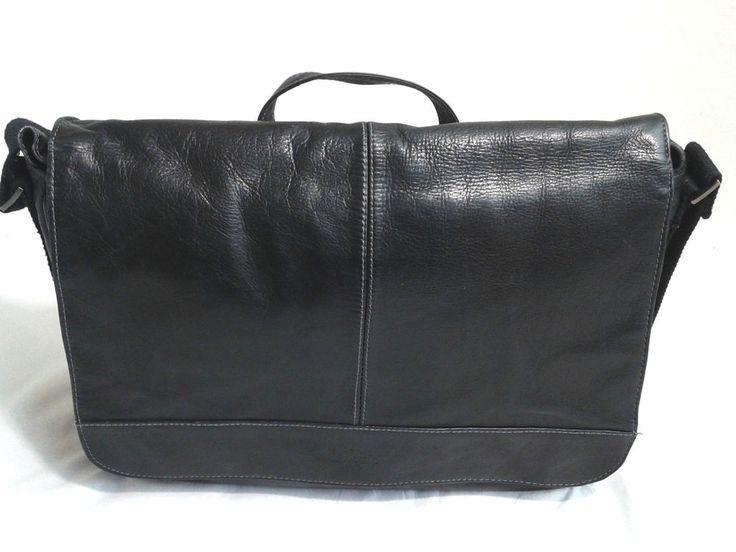 """Kenneth Cole Reaction """"Risky Business"""" Leather Messenger Bag/Briefcase Black  #KennethColeReaction #MessengerShoulderBag"""