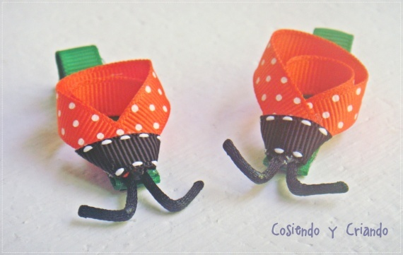Pinzas mariquitas naranjas! Orange ladybugs hairclips!