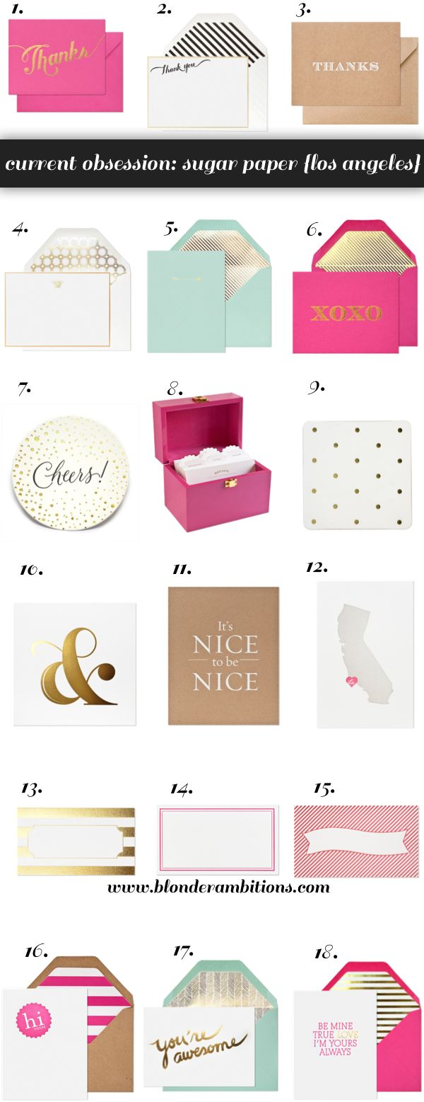 Sugar Paper {Los Angeles} via Blonder Ambitions. Typography. Gold foil. Thick card stock. Letterpress. Stationary. @sugar paper