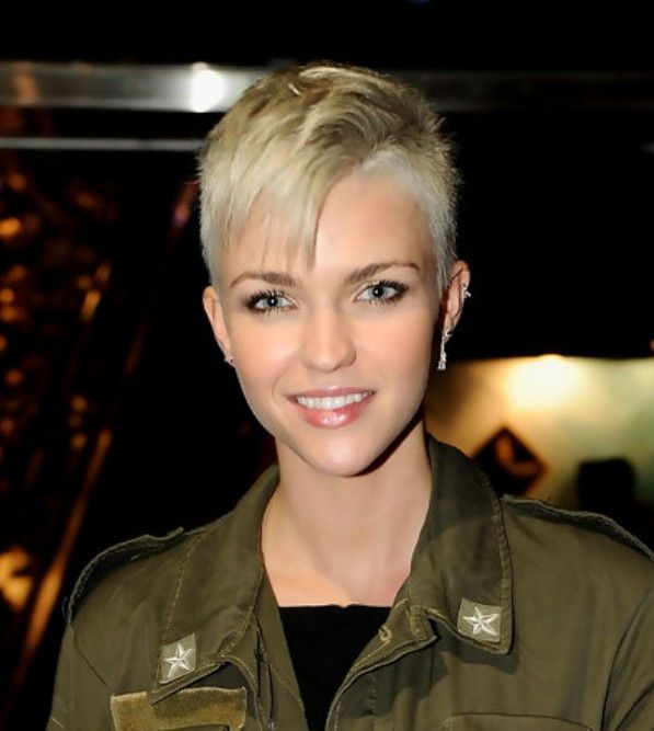 Boy cut with Bangs - I don't think I would ever shave the sides, but I love this on her!  Such a pretty face.  :-)