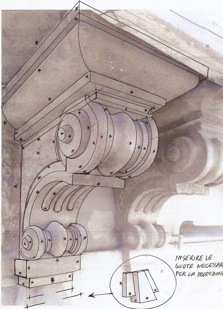 Modiglione originale con il disegno per la replica