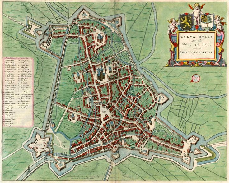 Old, antique map of 's Hertogenbos by Blaeu J. | Sanderus Antique Maps