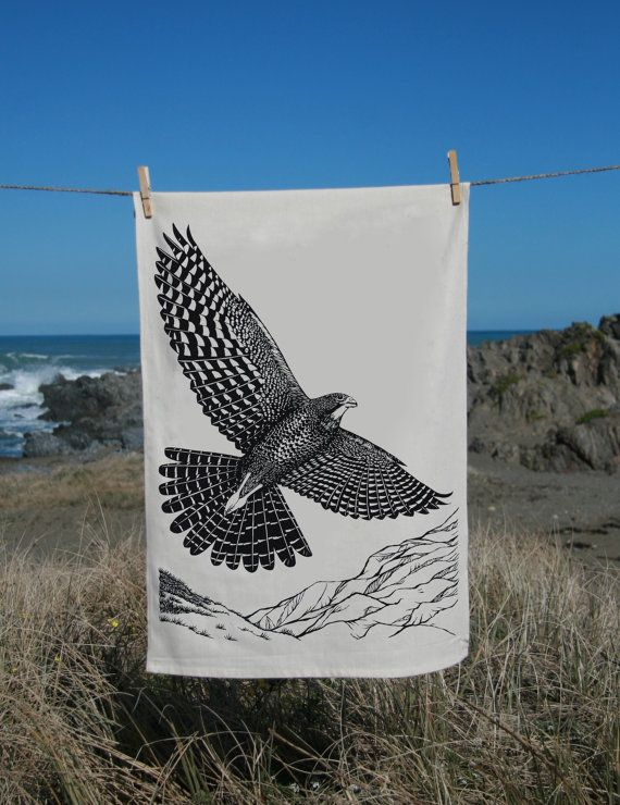 From my original drawing done in pencil and then pen and ink, this image captures the majestic Falcon flying high over the New Zealand landscape....