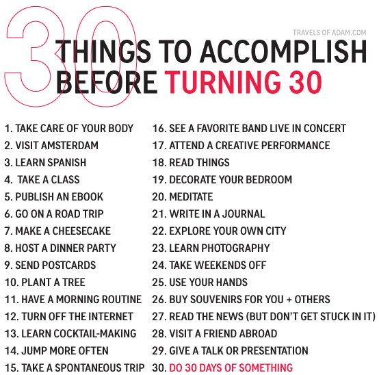 Things To Accomplish Before Turning 30 — NEW on http://travelsofadam.com