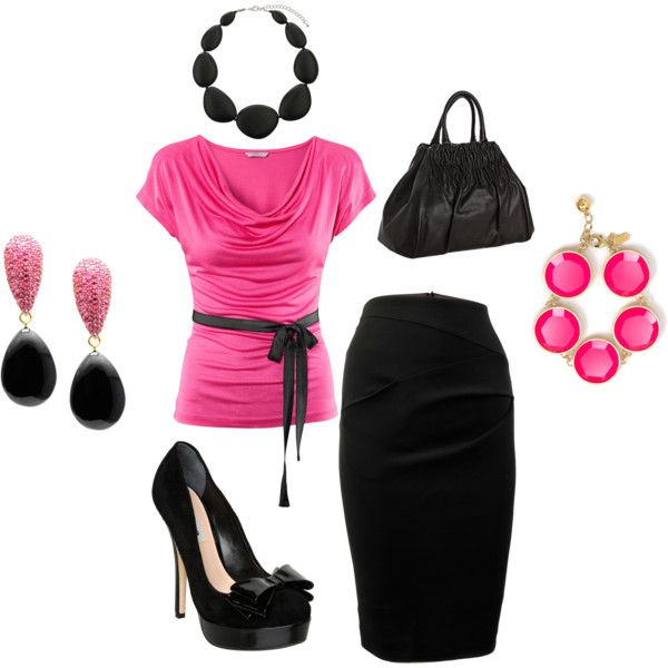 Day at the office, created by darlnangel on Polyvore: Women Fashion, Woman Fashion, Makeup Contours, Design Clothing, Makeup Tips, Closet, Work Outfits, Summer Clothing, Pink Black