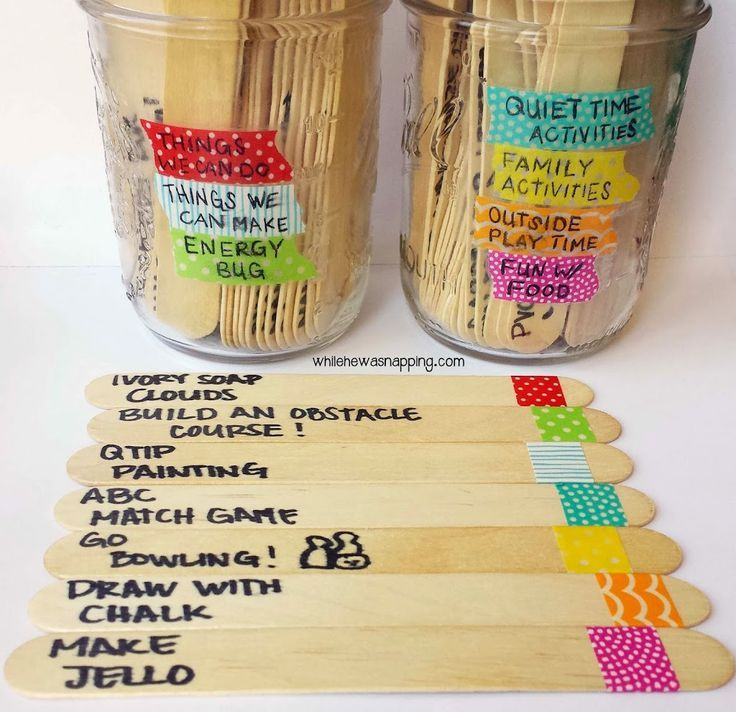 Washi Tape Summer Boredom Buster Jars - While He Was Napping.  I want to make this before Summer Break