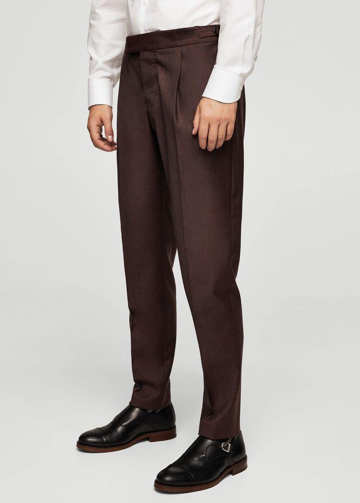 Pantalón traje slim-fit lana - Trajes de Hombre | MANGO Man España
