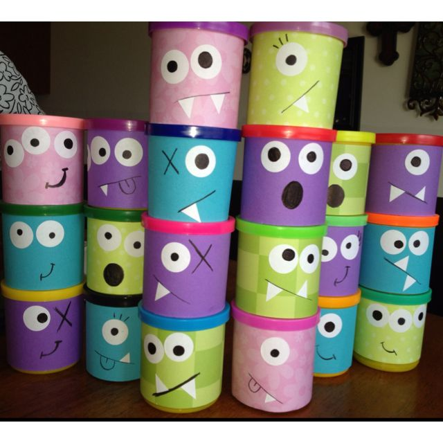 Monsters inc party favors...sooo cute!      Help me find some icing contianers