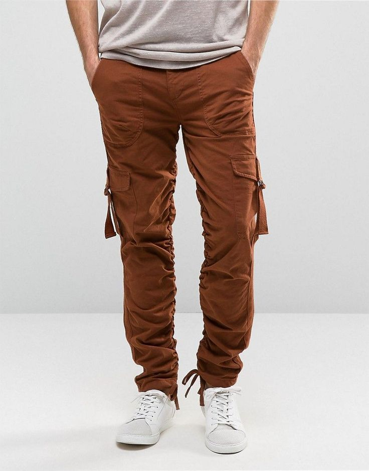 ASOS Slim Cargo Pants With Side Tape In Rust - Brown