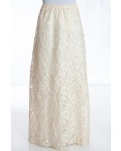 Cream Floral Lace Maxi Skirt
