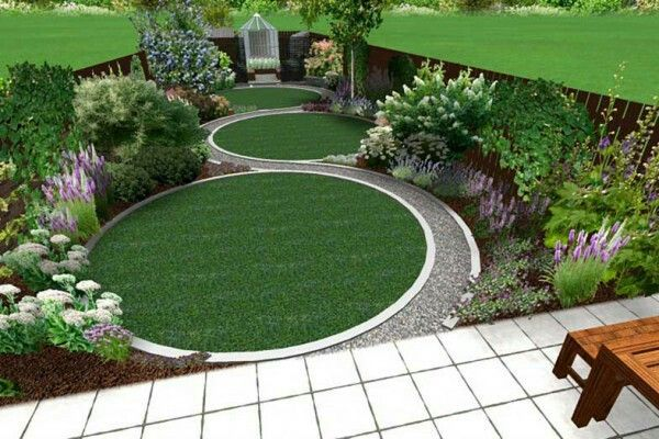 Triple circular lawns separated by a winding path play with perspective.