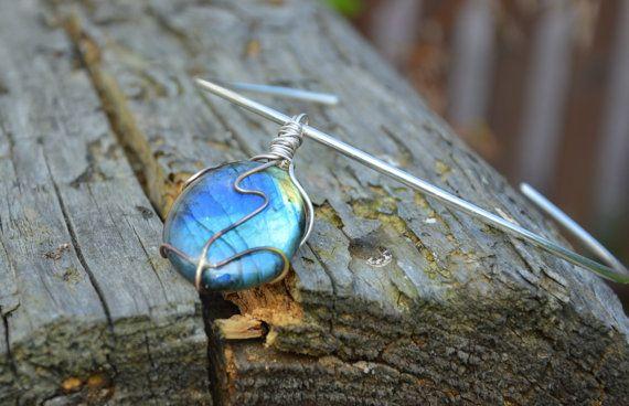 labradorite pendant rainbow statement pendant blue by CopperFinger